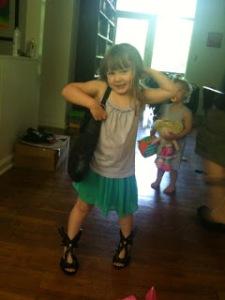 Little Biggie in Mom's shoes