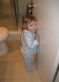 Little Biggie in kids' bath, before